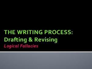 THE WRITING PROCESS Drafting Revising Logical Fallacies Logical