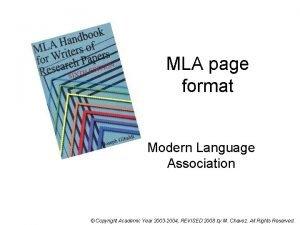 MLA page format Modern Language Association Copyright Academic