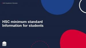 NSW Department of Education HSC minimum standard Information