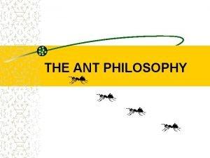 THE ANT PHILOSOPHY 1 st PART PHILOSOPHY ANTS