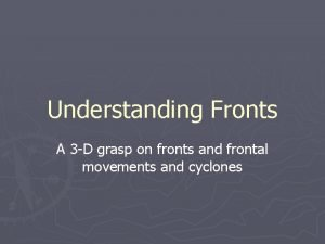Understanding Fronts A 3 D grasp on fronts
