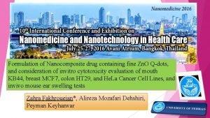 Formulation of Nanocomposite drug containing fine Zn O