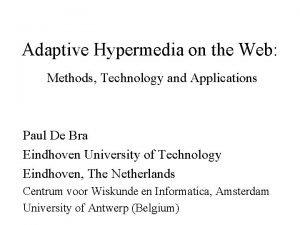 Adaptive Hypermedia on the Web Methods Technology and