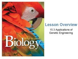 Lesson Overview Application of Genetic Engrineering Lesson Overview