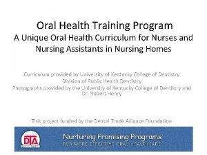 Oral Health Training Program A Unique Oral Health