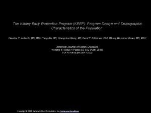 The Kidney Early Evaluation Program KEEP Program Design