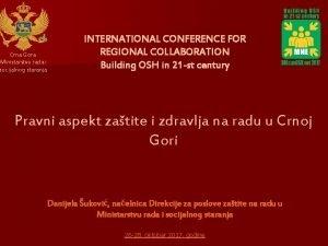 Crna Gora Ministarstvo rada i socijalnog staranja INTERNATIONAL
