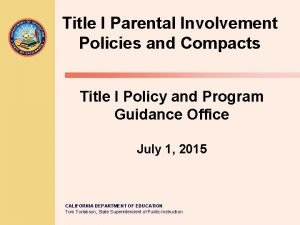 Title I Parental Involvement Policies and Compacts Title