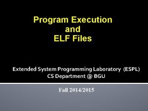 Program Execution and ELF Files Extended System Programming