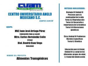 MATERIAS INVOLUCRADAS CENTRO UNIVERSITARIO ANGLO MEXICANO S C
