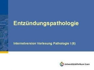 Entzndungspathologie Internetversion Vorlesung Pathologie I 6 Allgemeine Pathologie