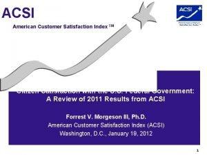 ACSI American Customer Satisfaction Index TM Citizen Satisfaction