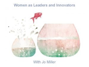 Women as Leaders and Innovators With Jo Miller