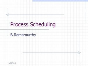 Process Scheduling B Ramamurthy 11282020 1 Introduction An