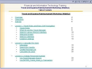Financial and Information Technology Training Travel and Expense