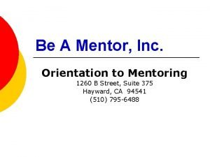Be A Mentor Inc Orientation to Mentoring 1260
