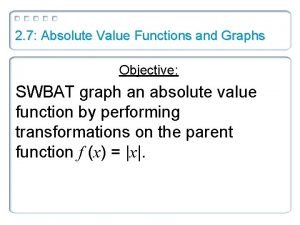 2 7 Absolute Value Functions and Graphs Objective