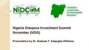 Nigeria Diaspora Investment Summit November NDIS Presentation by