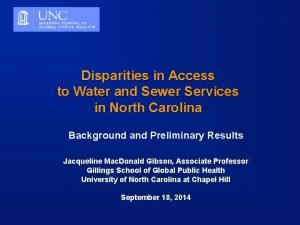 Disparities in Access to Water and Sewer Services