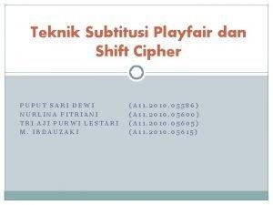Teknik Subtitusi Playfair dan Shift Cipher PUPUT SARI