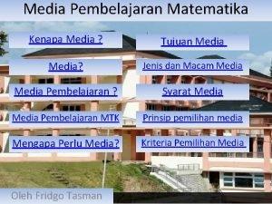 Media Pembelajaran Matematika Kenapa Media Tujuan Media Jenis