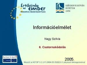 Informcielmlet Nagy Szilvia 6 Csatornakdols 2005 Szchenyi Informcielmlet