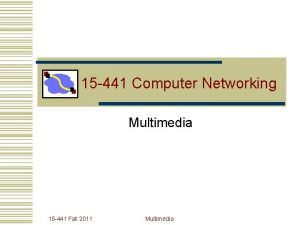 15 441 Computer Networking Multimedia 15 441 Fall