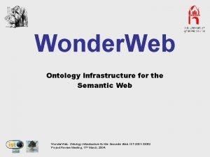 Wonder Web Ontology Infrastructure for the Semantic Web