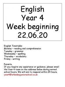 English Year 4 Week beginning 22 06 20