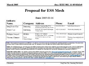 March 2005 doc IEEE 802 11 050263 r