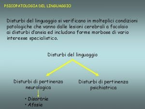 PSICOPATOLOGIA DEL LINGUAGGIO Disturbi del linguaggio si verificano