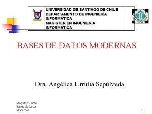 UNIVERSIDAD DE SANTIAGO DE CHILE DEPARTAMENTO DE INGENIERA