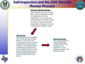 SelfInspection and the DSS Security Review Process DSS