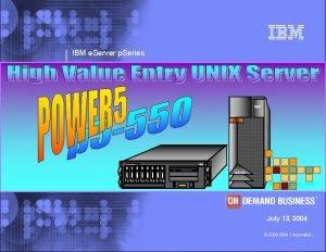 IBM e Server p Series IBM p Series