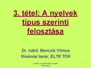 3 ttel A nyelvek tpus szerinti felosztsa Dr