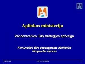 Aplinkos ministerija Vandentvarkos kio strategijos apvalga Komunalinio kio