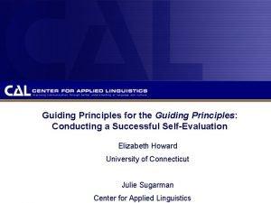 Guiding Principles for the Guiding Principles Conducting a