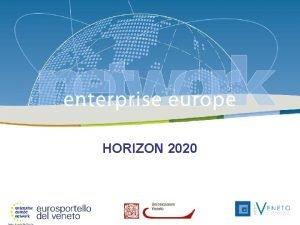 Enterprise Europe Network 26 febbraio 2014 HORIZON 2020