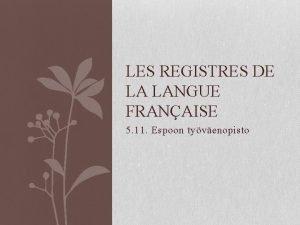 LES REGISTRES DE LA LANGUE FRANAISE 5 11