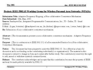 May 2001 doc IEEE 802 15 01252 r