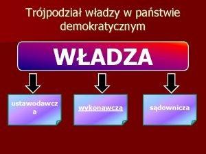 Trjpodzia wadzy w pastwie demokratycznym WADZA ustawodawcz a