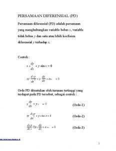 PERSAMAAN DIFERENSIAL PD Persamaan diferensial PD adalah persamaan