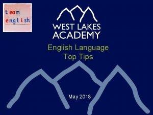 English Language Top Tips May 2018 English Language