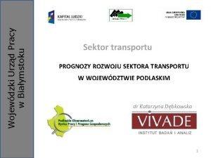 Wojewdzki Urzd Pracy w Biaymstoku Sektor transportu PROGNOZY