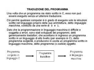 TRADUZIONE DEL PROGRAMMA Una volta che un programma