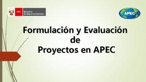 Formulacin y Evaluacin de Proyectos en APEC Qu