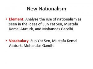 New Nationalism Element Analyze the rise of nationalism
