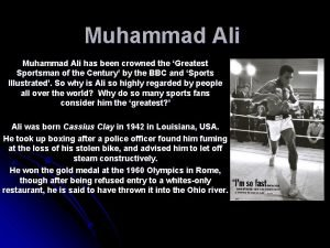 Muhammad Ali has been crowned the Greatest Sportsman