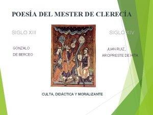 POESA DEL MESTER DE CLERECA SIGLO XIII SIGLO