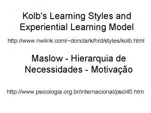 Kolbs Learning Styles and Experiential Learning Model http